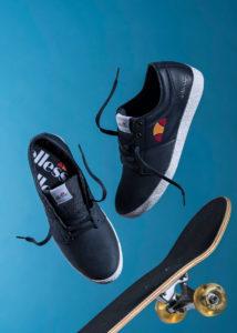 Foto pubblicitaria sneakers Ellesse con Skateboard